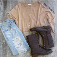 Breezy Days Long Sleeve Crop Top - Taupe