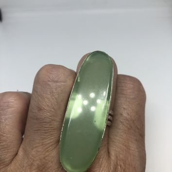 Vintage Green Genuine Chalcedony 2 inch long ring