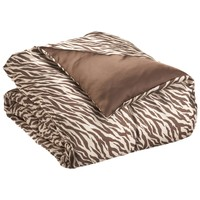 Royal Opulance Woven Satin Comforter Mini Set Zebra, Brown/Ivory, King