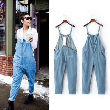 Summer Rinsed Denim Denim Jumpsuit Romper [4933131716]