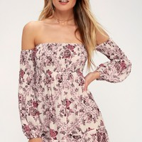 Flores White Floral Print Off-the-Shoulder Mini Dress