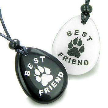 Lucky Best Friends Wolf Paw White Jade and Black Onyx Wish Gemstones Friendship