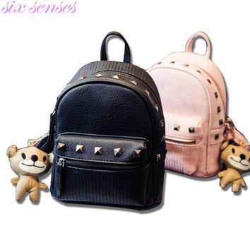 Six senses Women Bag Pu Leather Backpack small Casual Backpack Travel Bags girl school Bag rivet Shoulder Bag rucksack XD3585