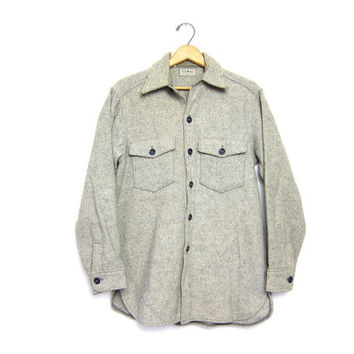 5f2fc7cd43 LL Bean Thick Wool Button Up Shirt Gray White Striped Flannel Work Shirt  Mens Northwoo