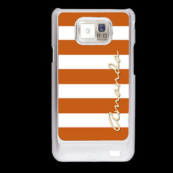 Personalized Samsung Galaxy S2 case - Autumn wide stripes Beach stripes - monogram Samsung Galaxy S2 cover plastic
