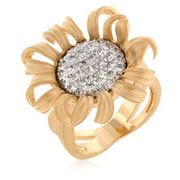 Nataley's 14K Gold Imitation Diamond Sunflower Ring - As Seen in Lucky Magazine