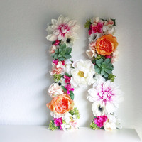"CUSTOM 19"" Floral Succulent Monogram Letter or Number / Large Floral Letter / Flower Letter / Name Art / Flower Monogram / Floral Decor"