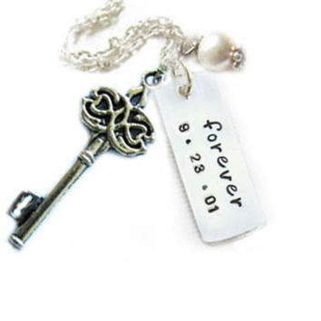 Key Pearl Hand Stamped Custom Personalized Necklace Silver Forever Jewelry sale