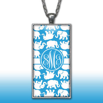 Elephants Monogram Pendant Charm Necklace Blue Personalized Custom Initial Necklace Monogram Jewelry