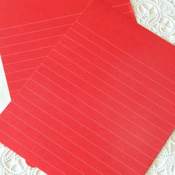 Vintage Red Lined Paper. Writing Paper. Red Stationery. Journal Paper. Gel Pens. Milky Pens. Notebook Paper. Valentine Cards. Red Paper.