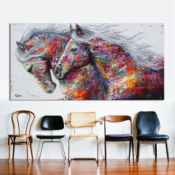 Abstract The Two Running Horse Animal Print Painting On Canvas Wall Art Pictures For Living Room Home Decor Canvas Painting Unfr