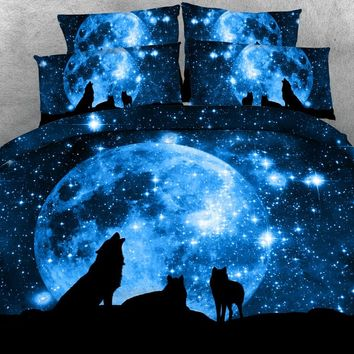 3pcs All kinds wolves print duvet cover + pillowcase set Blue galaxy wolf printed bedding sets