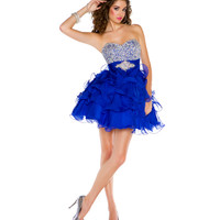 Mac Duggal Prom 2013- Royal Ruffle With Silver Embellishments Cocktail Dress - Unique Vintage - Cocktail, Pinup, Holiday & Prom Dresses.