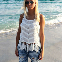 Valencia Sleeveless Ivory Braided Fringe Top