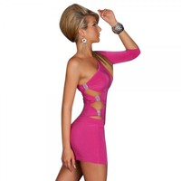 Sexy One-shoulder Close-fitting Dress Women's Lingerie Peach