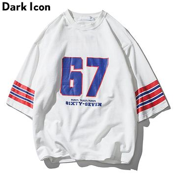 Number 67 Stripe on Sleeve Over sized T Shirt Men Summer Round Neck Loose Style Men's T-shirt Cotton Tee Shirts
