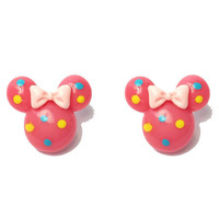 "Handmade Confetti Minnie"" Bright Pink Minnie Mouse Earrings with Blue and Yellow Dots and Pink Bow"