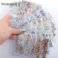 Hisenlee 18 Colors SS3-SS10 Small Sizes Nails Art Crystal Glass Rhinestones For Nails 3D Nail Art Decoration Gems