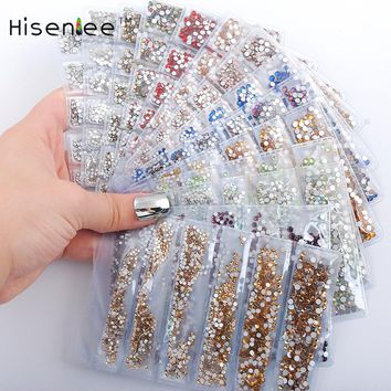 Hisenlee Top Quality 21 Colors SS3-SS10 Small Sizes Nails Art Crystal Glass Rhinestones For Nails 3D Nail Art Decoration Gems