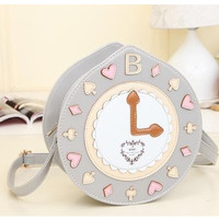 FREE SHIP + Cute Vintage Gray Clock Crossbody Bag Purse Cute Harajuku Stylish from EyeCandy's - Color Circle Lens