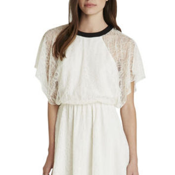 Contrast Neck Band Lace Dress in White - BCBGeneration