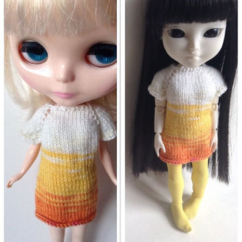 Blythe Knit  Dress, Makies Knit Dress, Makies Dress, Knit Doll Clothes, Knitted Doll Clothes