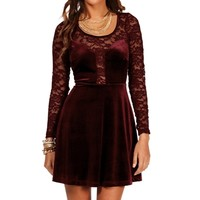 Rozelle- Burgundy Lace and Velvet Dress