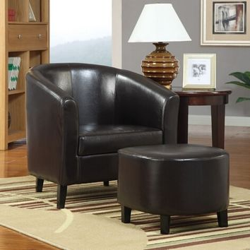 A.M.B. Furniture & Design :: Living room furniture :: Accent chairs :: 2 Pc black leather like vinyl upholstered barrel shaped accent side chair and ottoman