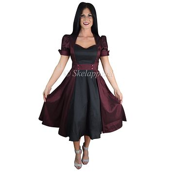 60's Vintage inspired Queen of Hearts Two Tone Burgundy & Black Satin Dress