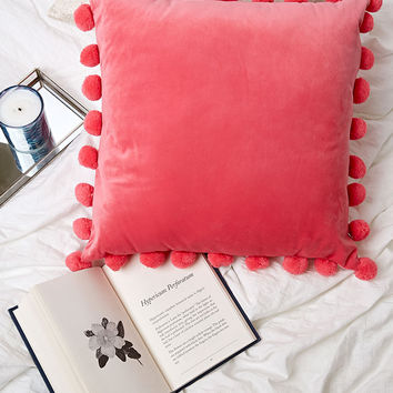 Velvet Pom Pom Throw Pillow