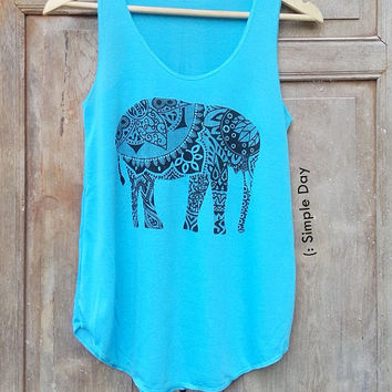 Blue Elephant Tank Top Hipster tank top Tank top women Fitness top Summer Cloth Gift Summer fashion Vintage Jack Daniels Wifey Bride kale