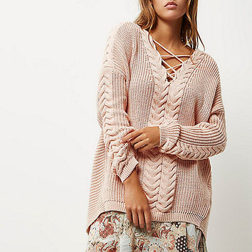 Blush pink cable knit tie front jumper - jumpers - knitwear - women