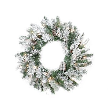 "30"" Pre-Lit Flocked Victoria Pine Artificial Christmas Wreath -  Clear Lights"