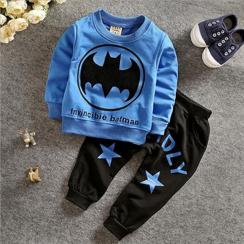 Autumn children clothing 2015 new arrival fahsion baby boy clothes set batman print top+leisure pant 2 pcs set children boy sets = 1927779908