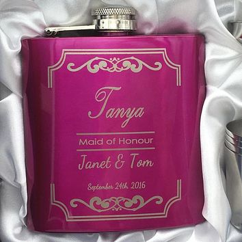Bride Or Bridesmaid Gift For Wedding - Personalized Flask