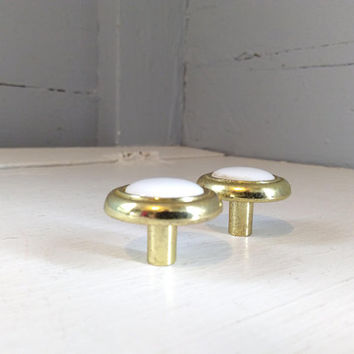 Vintage, Furniture, Hardware, Drawer Pulls, Cabinet Knobs, Round,  Brass Color, Metal, White, Porcelain Center, Two,  RhymeswithDaughter