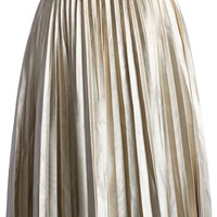 Faux Leather Pleated Skirt in Light Gold Beige S/M