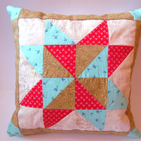 Patchwork Pillow Cover, Decorative Pillow Covers,Decor,Cushion Cover.Children Room.Red,Blue and Brown Cushion.