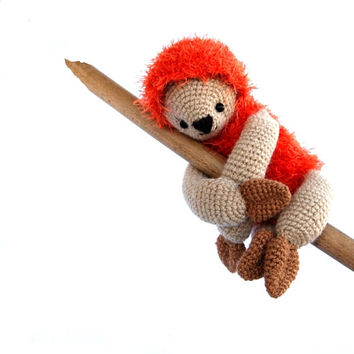 sloth, stuffed lazy animal, amigurumi sloth, orange crocheted sloth, sloth doll, lazy sloth gift for children sloth stuffed toy orange beige
