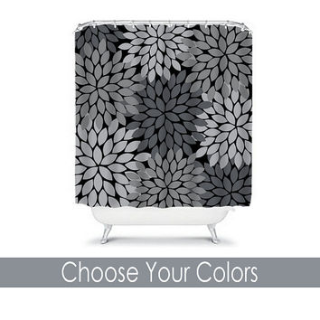 Gray Black Shower Curtain CUSTOM You Choose Colors Charcoal Flower Burst Dahlia Pattern Bathroom Bath Polyester Made in the USA