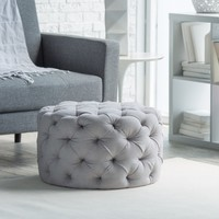 Belham Living Allover Tufted Round Ottoman - Grey | www.hayneedle.com