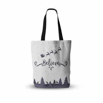 "Famenxt ""Christmas Believe"" Gray Lavender Illustration Everything Tote Bag"