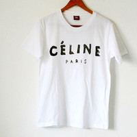 Womens Celine Paris Cotton T-Shirt ,Cotton Loose T-Shirt Girls Top, Fashion White Loose Style Tee