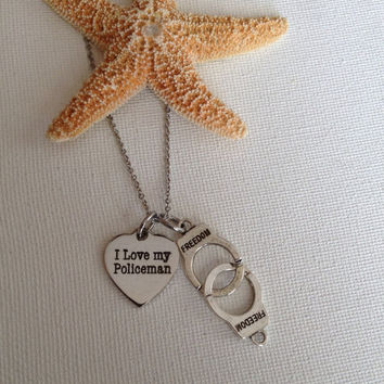 I love my policeman necklace, police wives, gifts for police wives, gifts for her, law enforcement gifts