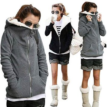 2016 Women Winter Autumn Warm Fleece Cotton Zipper Up Hooded Coat Sweatshirt Jacket Outerwear Hoodies Sweatshirts Plus S-4XL