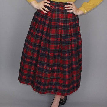 Vintage Retro 1950's 60s Red Wool Plaid Stripes Circle Skirt Pleated Wool A Line Classic Preppy School Girl Size Small Medium Turnabout