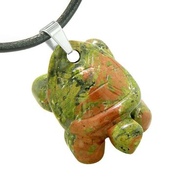 Amulet Turtle Cute Lucky Charm Healing Protection Powers Unakite Pendant Leather Necklace