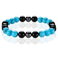 Crucible Men's Turquoise, Onyx and Hematite Spiritual Wellness and Healing Stone Bead Stretch Bracelet - 8.5 inches (10mm Wide) | Overstock.com Shopping - The Best Deals on Men's Bracelets