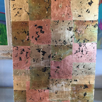 Original abstract acrylic painting 18x24 canvas panel gold leaf, copper leaf, bronze leaf, black
