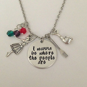 "Disney inspired Little Mermaid necklace ""i wanna be where the people are"" Ariel hand stamped Disney Jewelry charm necklace"